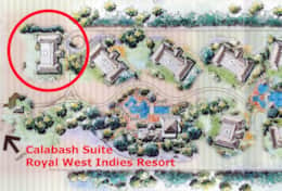 Suite is in the circled beachfront building
