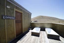 Damara Hut Front Door and Outdoor Baths
