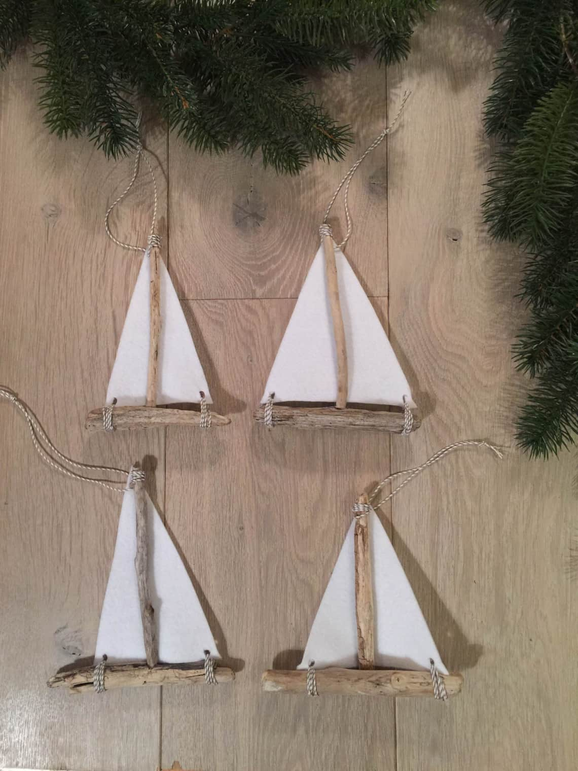 Baker's Twine Through The Whole At The Top Of The Sail And Tie The Ends  Into A Knot You Now Have Apleted Coastal Sailboat For Your Christmas  Tree!
