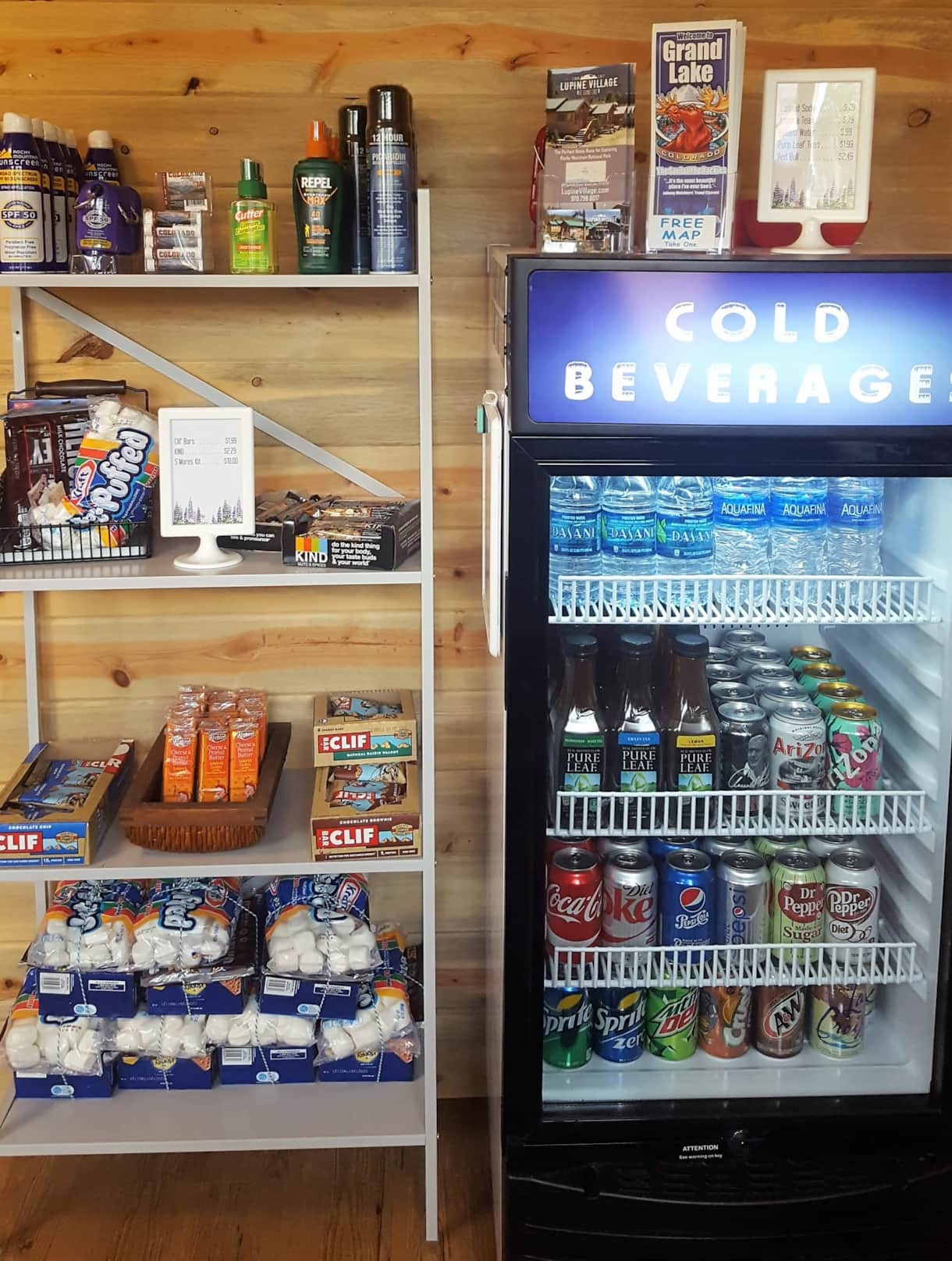 Visit the office (in front of Cabin #1) -you'll find cold drinks, snacks, sunscreen, & bug spray