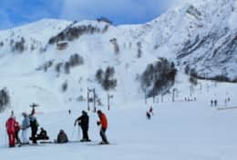 Skiers at the Vormaine ski area, which is in a minute walk from the chalet.