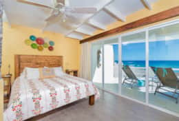 The ocean view bedroom has an ensuite bathroom with shower and access to the terrace.