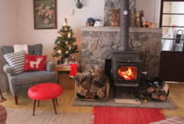 Living area decorated for the Christmas holidays
