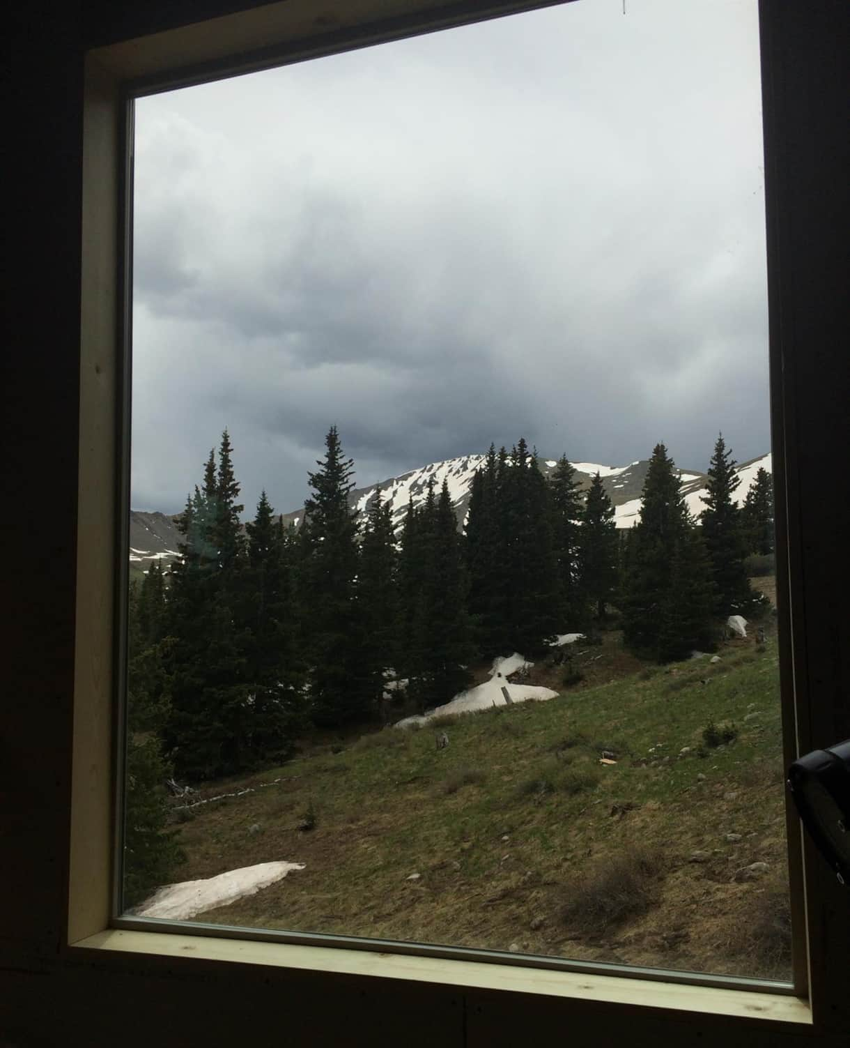 Watching a storm from the comfort of inside the Tundra Hut