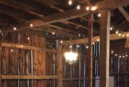 Edison lights in barn (lights are included in barn rental)
