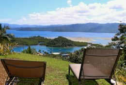 Bua Vista Loungers with view over Savusavu town and Harbour