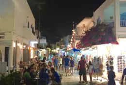 nightlife of Antiparos at night