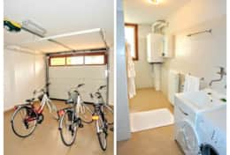 In the basement take advantage of the laundry room, entertainment room and garage with bikes and you