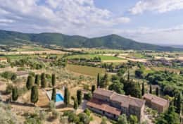 Antica Villa Cortona, aerial view direction Umbria