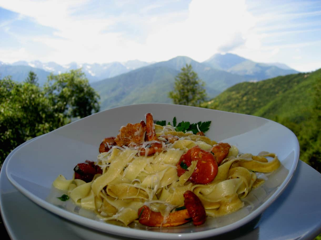 Our Home made  Pasta with Chanterelles
