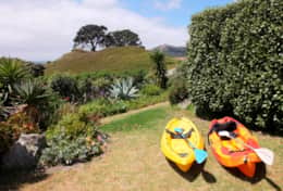 Kayaks on the lawn