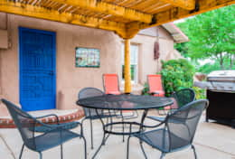 Relax and enjoy a glass of wine on the patio.