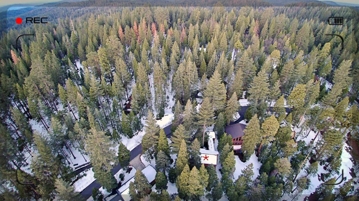 Chesa Madrisa marked with red star - bordering Big Trees State Park