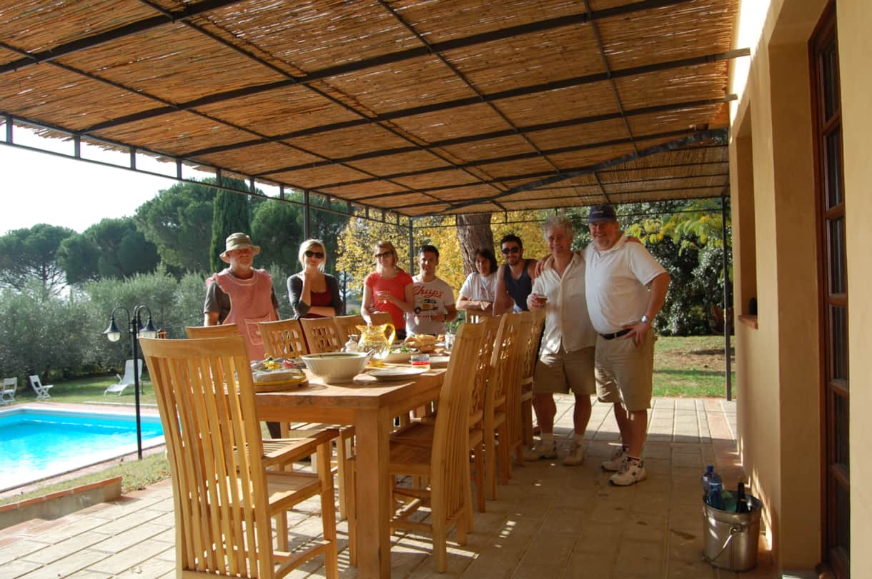 Lunch for the olive pickers at the pool house of this villa in Tuscany- November 2013