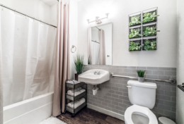 Master full bathroom with luxury towels and complimentary toiletries.