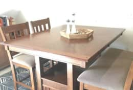 Large, extendable dining table.