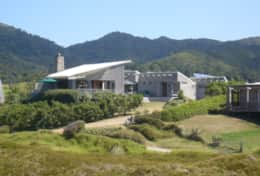 View of the lodge from the dunes