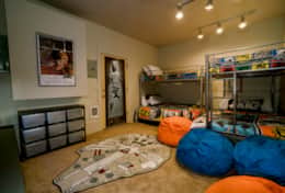 Bunk room located off the garage on the lower level